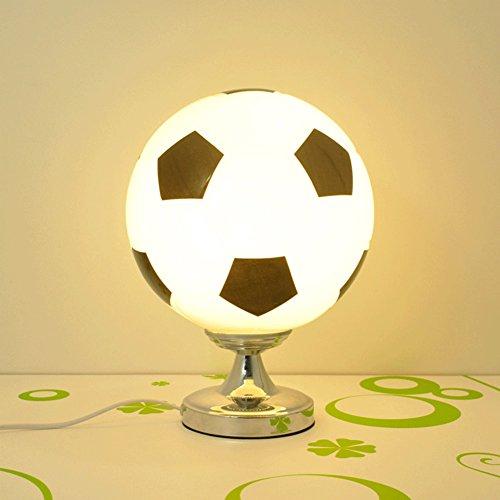 QINAIDI Fußball Tischlampe Schlafzimmer Nachttischlampe Kreative Tischlampe Boy Zimmer LED-Beleuchtung Augenschutz Schreibtischlampe (Weiß, Schwarz, Rot, Blau),Black,Dimmerswitch (Kid Schlafzimmer-beleuchtung)
