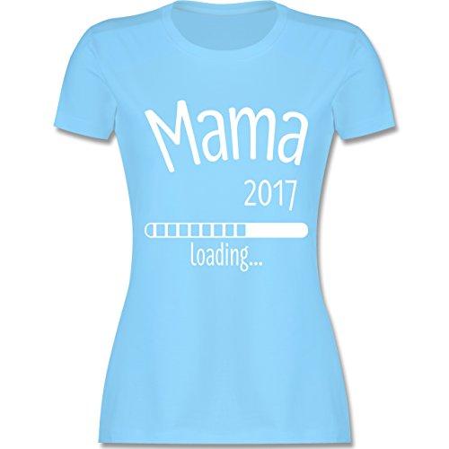 Schwangerschaft - Mama 2017 loading - tailliertes Premium T-Shirt mit Rundhalsausschnitt für Damen Hellblau