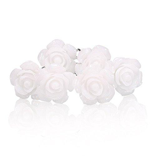 Weiß Ring Stein (Autiga 6 Blumen Haarnadeln weiß Blüte Hochzeit Braut Haarschmuck Blumenhaarnadel Kommunion Haarpins Brautschmuck Duttnadeln weiß 12er Set)