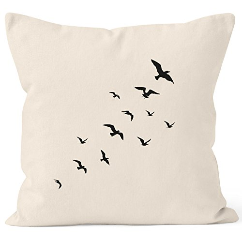 Autiga Kissenbezug Vögel Birds Fly Kissen-Hülle Deko-Kissen 40x40 Baumwolle Natur 40cm x 40cm -