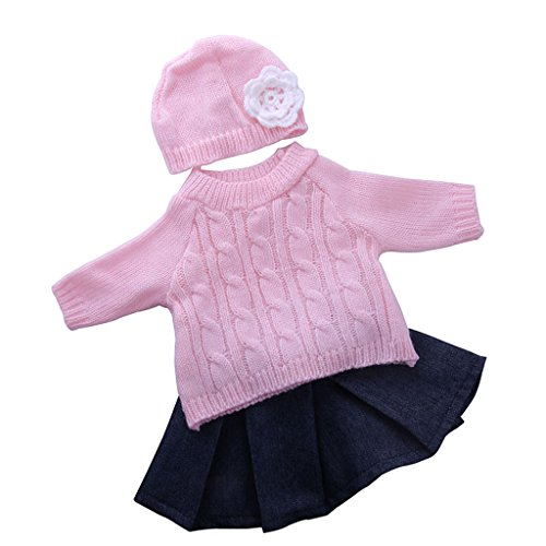 Gazechimp Puppen Pullover, Faltenrock, Hut Puppenkleidung Set Für -