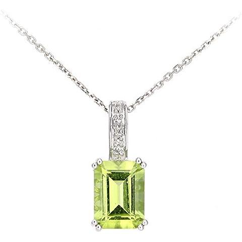 Revoni–9ct amarillo dorado de corte diamante y Peridot Rectángulo colgante collar