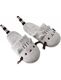 f111c17ce1 DANDANJIE Carino Gatto Pantofole del Fumetto con la Coda della Barba Coppie  Indoor Home Scarpe Ragazzi Ragazze Chiuse Punta…
