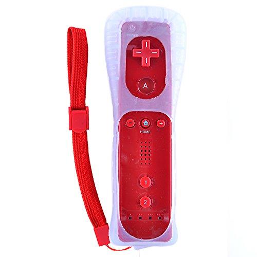 Télécommande remote + Housse silicone + Sangle pour Nintendo Wii Rouge