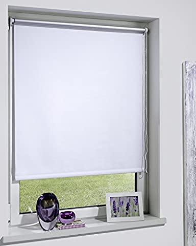 DecoProfi THERMOROLLO weiß, silber beschichtet, verdunkelnd, TEXTILBREITE ca. 44cm/Systembreite 45cm, Länge 160cm, mit Klemmträger / Klemmfix / ohne Bohren