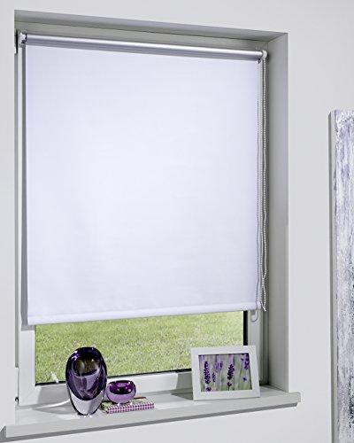DecoProfi THERMOROLLO weiß, silber beschichtet, verdunkelnd, TEXTILBREITE ca. 84cm/Systembreite 85cm, Länge 160cm, mit Klemmträger / Klemmfix / ohne Bohren (Plissee-vorhänge 84)