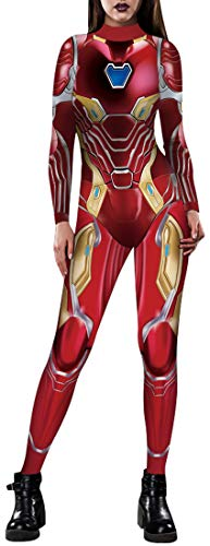FLYCHEN Herren Halloween Kostüm hochwertige Karton Cosplay Jumpsuit Onesie Spiderman Avengers Tiger Black Panther Cosplay Kleidung(S,Iron Man)