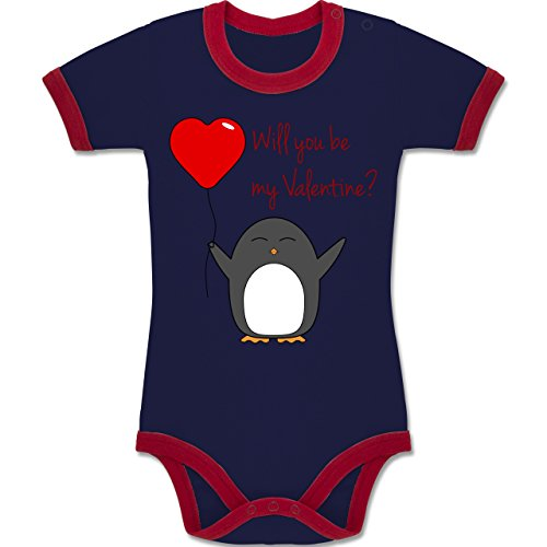 Valentinstag Geschenk Baby - Will you be my Valentine - Pinguin - Herz - Luftballon - 3-6 Monate - Navy Blau/Rot - BZ19 - - Kontrastfarbener Baby Ringer Bodysuit Jungen Mädchen Strampler Kontrast (Herz-ringer)