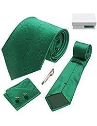 Coffret Cadeau Rabat - Cravate vert impérial, boutons de manchette, pince à cravate, pochette de costume