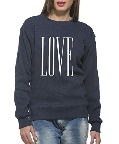 Clifton Women's Printed Sweat Shirt R-neck -Blue Melange-Love-6XL