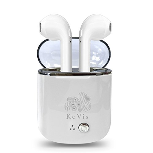 Auriculares in-ear inalámbricos Bluetooth, mini, gemelos, con estuche de carga, para Airpods y iPhone y todos los dispositivos Bluetooth (Blanco transparente)