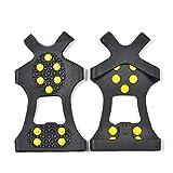 YUnnuopromi 1 Paar 10-Studs Anti-Rutsch-EIS-Schnee-Griffe Schuh Boot Traktion Cleat Spikes Crampon Schwarz + gelb M