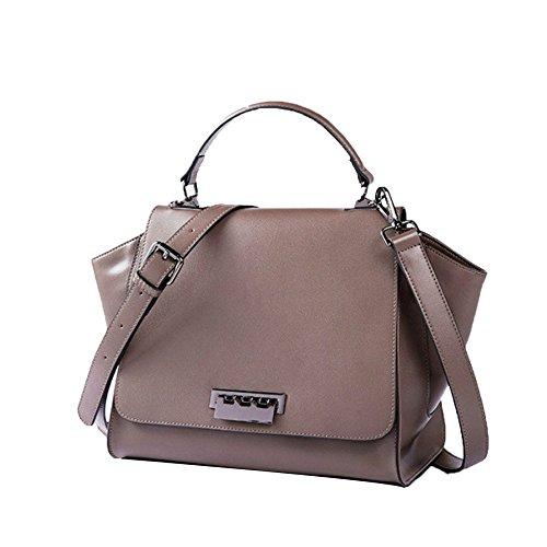 Faux Leder Medium Tote Tasche (New Classic Frauen PU-Leder Handtasche Schultertasche Große Kapazität Totes,Brown-M)
