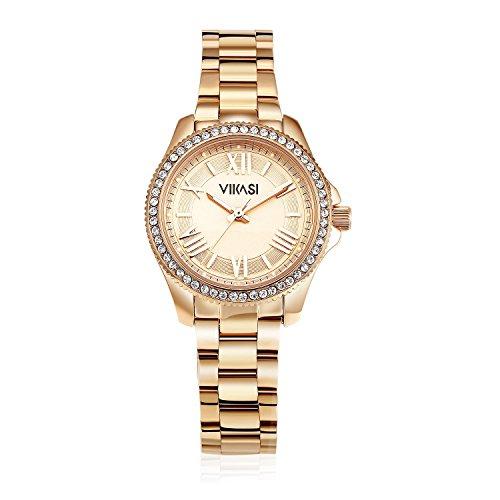 VIKASI Damen Japanisch Quarz Wasserdicht Rostfreier Stahl Band-Kleid Handgelenk Römische Ziffer Uhr- Rose Gold