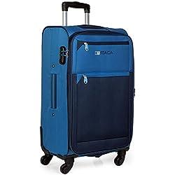 ITACA - Maleta de Viaje 4 Ruedas Mediana Trolley 67 cm Poliéster EVA Extensible. Blanda, Resistente y Ligera. Mango y 2 Asas. Candado. Estudiante Profesional. 701060, Color Azul-Azul Marino