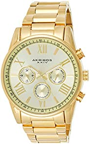 Akribos XXIV Men's Gold Multifunction Dual Time Zone Watch - Bezel with Inner Tachymeter Scale - Sunburst