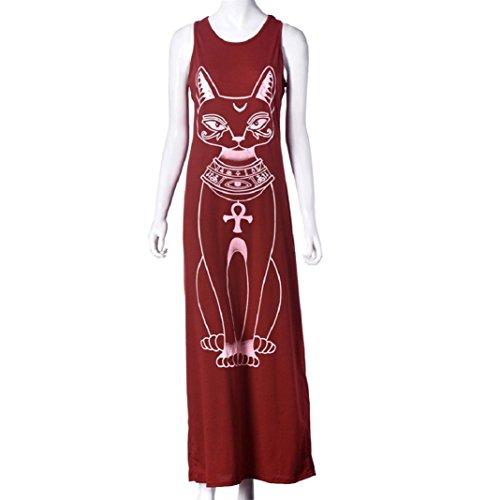 Culater Charmante Niedlich Katze Muster Lange Kleid, Lässige Ärmellos Boho Lange Cocktail Partei Strand Kleid Rot
