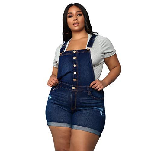 WOZOW Damen Denim Shorts Kurze Hose Jumpsuit Casual High Waist Buttons Overalls Mini Jeanshose Slim Mode Romper Übergröße Plus Size Bib Hosen Freizeithose Stoffhose (L,Dunkelblau) Fleece-bib Overalls