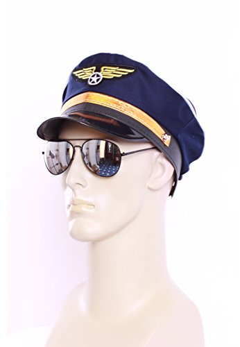 Pilot Set Outfit Kostüm Zubehör Pilotenmütze + Pilotenbrille (Verstellbare Pilotenmütze)