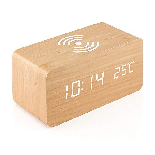 LIGHTOP Hölzerner Wecker mit drahtlosem Qi-Ladekissen Holz-LED-Digitaluhr-Klangsteuerungsfunktion Uhrzeit Temperaturanzeige kompatibel mit iPhone Samsung für Schlafzimmer Office Home