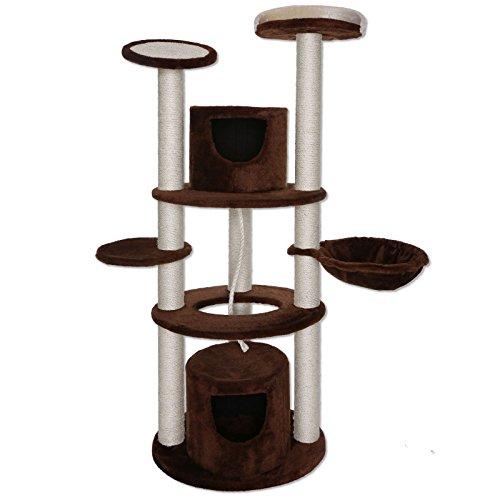 dibea kb00822 - Tiragraffi per gatti, torre multifunzionale (158 cm alto), tronchi robusti (9 cm) con Sisal, Marrone/Beige)