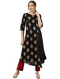 Janasya Women's Black Poly Silk A-Line Foil Print Kurta With Red Narrow Pant
