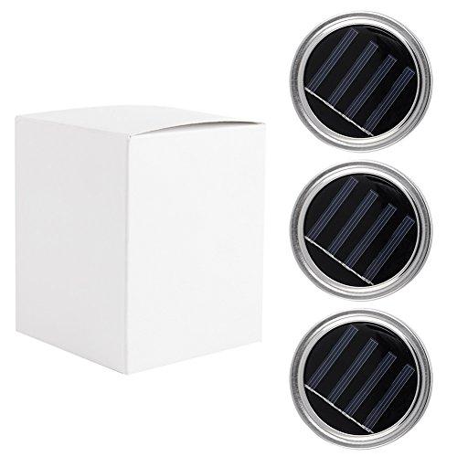 Mason Jar Lid, confezione da 3 coperchi di barattoli con luci LED con batterie solari natalizie per esterni, da giardino, per Halloween, festa casa, nozze, decorazione (vetro non incluso)
