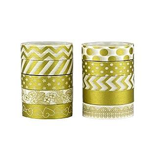 Allbusky Decorative Washi Tape Colorful Sticky Adhesive Masking Tape DIY Craft Decor (Gold 10 Pack)