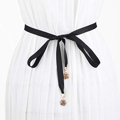 LLHZB Damengürtel Anhänger Stoffgürtel Damen Simple Ribbon Deko Seil mit Kleidern Taille Kettenlänge 150cm Kaffee Schwarz Weiß -