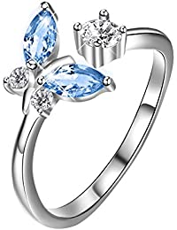 Sterling Silver Butterfly Open Ring with Gift Box for Women Girls 72wikkUI
