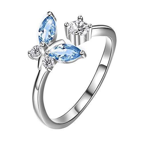 Sterling Silber Schmetterling offener Ring mit Geschenk-Box für Damen Mädchen (Blau) (Blaue Schmuck-box Für Mädchen)