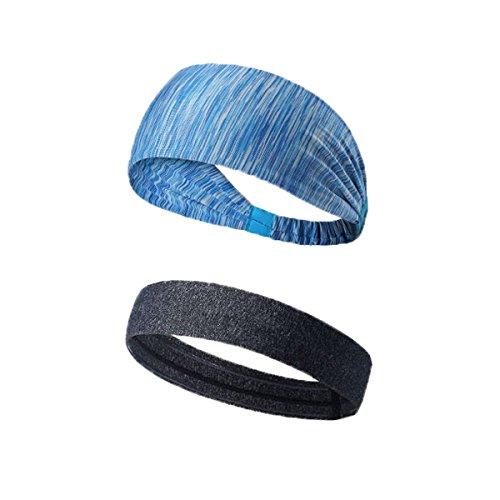 SHORWIN Stirnband Rutschfeste Sport Schweißband Stretch Elastische Yoga Weiche Baumwolle Stirnbänder für Männer und Frauen 2 stücke