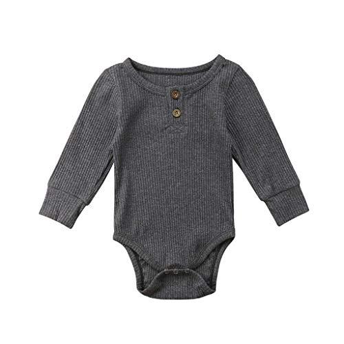 Livoral Baby badewanne Kleinkind Baby Kinder Mädchen Jungen Langarm Feste Strampler Bodysuit Freizeitkleidung(Dunkelgrau,90)