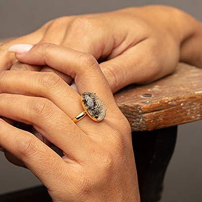 Bague dorée sertie d'une pierre naturelle - quartz - black rutile - lapis lazuli - pierre de lune - bijou femme - Idée cadeau pour fêtes des mères - Cadeau anniversaire