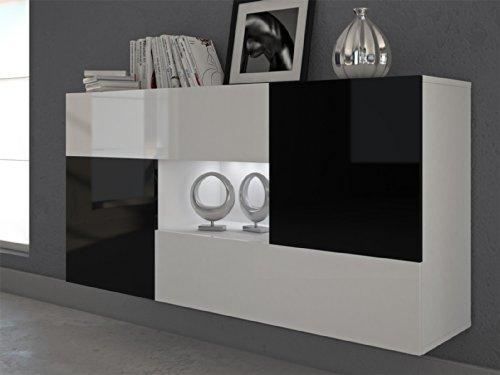 alfa-commode-buffet-dressoir-le-corps-blanc-mat-le-front-blanc-haute-brillance-noir-haute-brillance