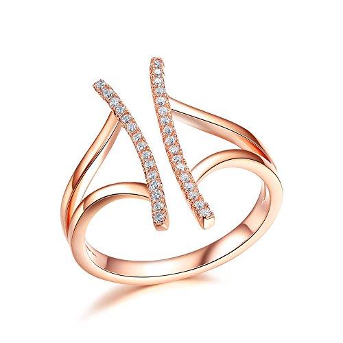 Atistic apertura a ombrello, Jewelry-Anello con zirconia cubica, misura piccola, acciaio, Placcato oro rosa, 19, colore: rosa, cod. TR079G9