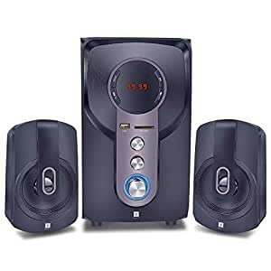 iBall Hi-Basss 2.1 Speaker - Built-in FM Radio and Multiple Equalizers with LED Display and Remote Control, Black