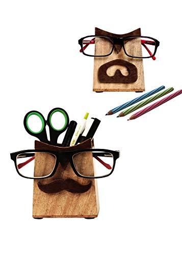 storeindya Holz Brillenhalter Multi-Dienstprogramm mit Bleistifthalter 2 Seite Display Spectacle Holder Brillenständer in natürlichen handgefertigten polnischen Veranstalter Geschenke (Zum Bärte Verkauf)