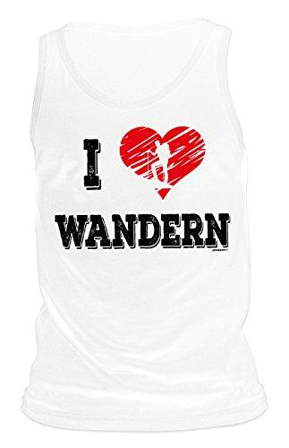Herren Tank Top für Bergsteiger - I love Wandern - Herz - Wandern - Bergwandern - Geschenk - Muskelshirt - Oberteil - shirt - weiss Weiß