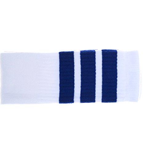 Hobbes (Unisex) 22 Zoll Knie hohe weiße Röhrensocken mit Royal Blue ()