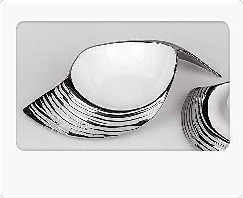 Formano Moderne Deko-Schale 20x14cm Serie Weiss - Silber aus Keramik mit Relief