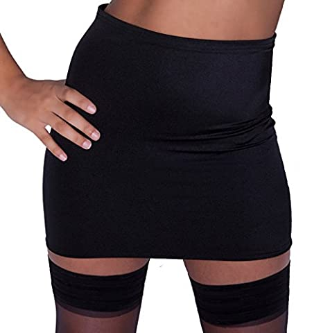 XS1 - Size 12 - 14 (To Fit: 30-32 Inch Waist / 34-38 Inch Hips / 12-13 Inch Length) Black Lycra 'Fantasy Store' Brand Micro Mini Skirt Bodycon