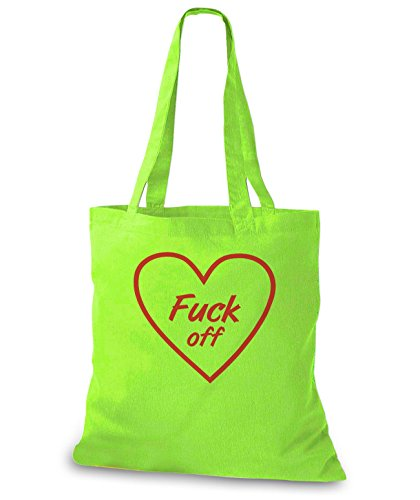 StyloBags Jutebeutel / Tasche Fuck Off Heart Lime