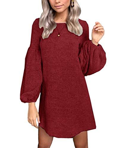 MYSHOW Donna Abito Semplice Basic con Maniche Lunghe Autunno Inverno  T-Shirt Vestiti Rosso M 6a2c2f4ff49