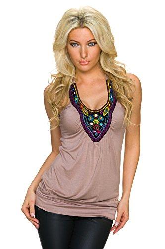 Intuition Damen Tank Top Shirt Trägertop mit Ethno Stitching und bunten Perlen, cinder/taupe (Tank-top Perlen Shirt)