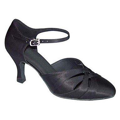 XIAMUO Nicht anpassbar - Die Frauen tanzen Schuhe moderne Satin stilett ferse Schwarz/Weiß Weiß