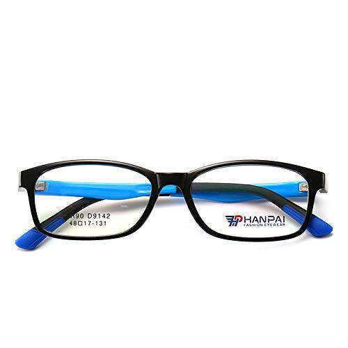 Yangjing-hl Student Brillengestell Bequeme Jungen und Mädchen mit Anti-blauen Brillengestell schwarzer Rahmen Blaue Beine