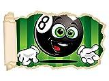 3D Wandtattoo Sport Billard Kugel Kinderzimmer Tapete Wand Aufkleber Wanddurchbruch Deko Wandbild Wandsticker 11N1411, Wandbild Größe F:ca. 140cmx82cm