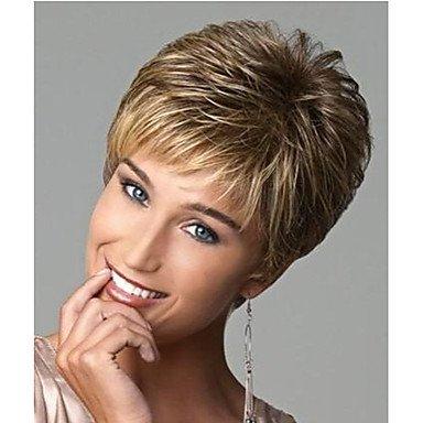 ZW-synthetische kurze gerade Mode Haare geschichteten bob nat¨¹rliche goldene Per¨¹cken Cosplay Per¨¹cke f¨¹r Frauen (Geschichteten Bob Kurze)