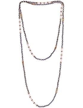 KELITCH Boho Multi-Kreis Halskette Glas Kristall Perlen Extra Lange Kette